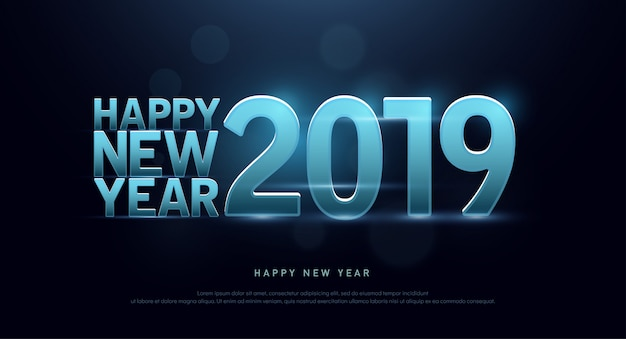 Happy new year 2019 technology font and alphabet