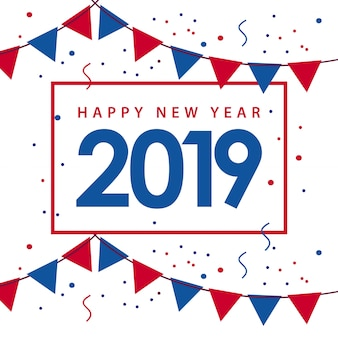 Happy new year 2019 template design illustration