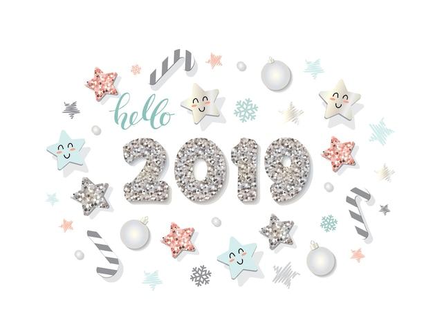 幸せな新しい年2019テンプレート装飾的な要素。