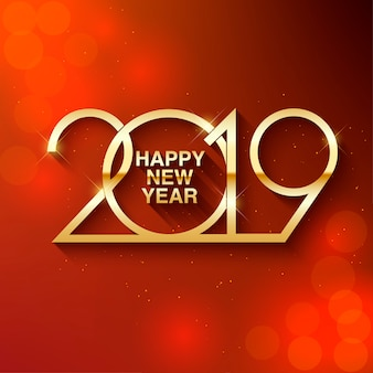Happy new year 2019 text design. greeting illustration with golden numbers