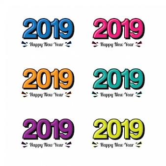 Happy new year 2019 text design.
