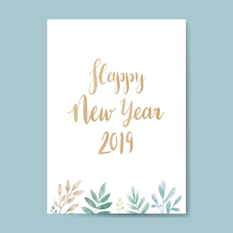 Happy new year 2019 watercolor card design