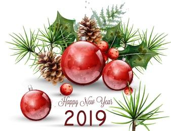 新年あけましておめでとうございます2019水彩カード