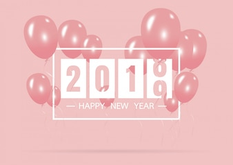 Happy new year 2019 with creative pink balloon concept