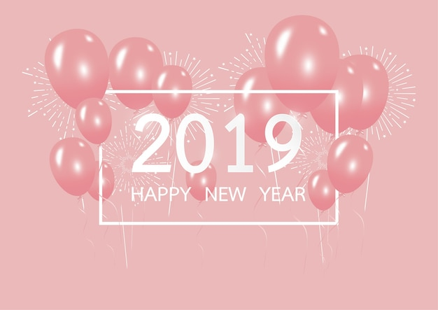 Happy new year 2019 with creative pink balloon