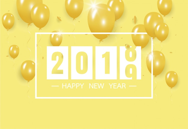 Happy new year 2019 with creative yellow balloon