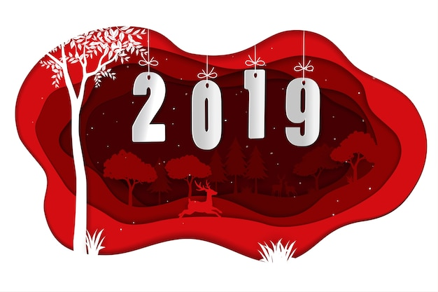 Happy new year 2019 with deers in winter season