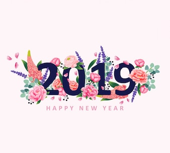 Happy new year 2019 with flower vector