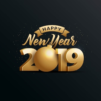 Happy new year 2019 with gold 3d number