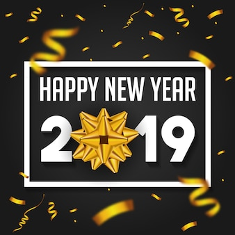 Happy New Year 2019 with golden gift bow confetti