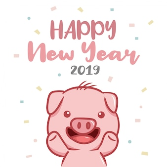 Happy new year 2019 with pig character