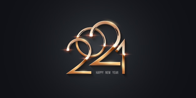 Happy new year 202, gold numbers shining in light with sparkles