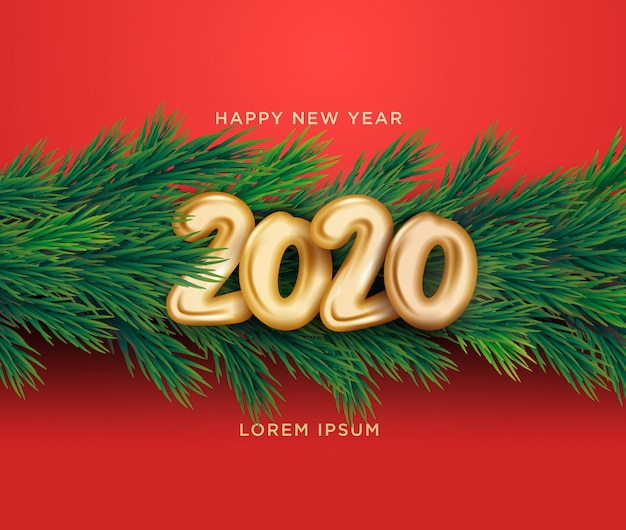 Happy new year 2020 3d background