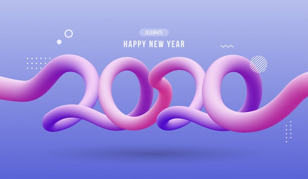 Happy new year 2020, abstract wavy fluid