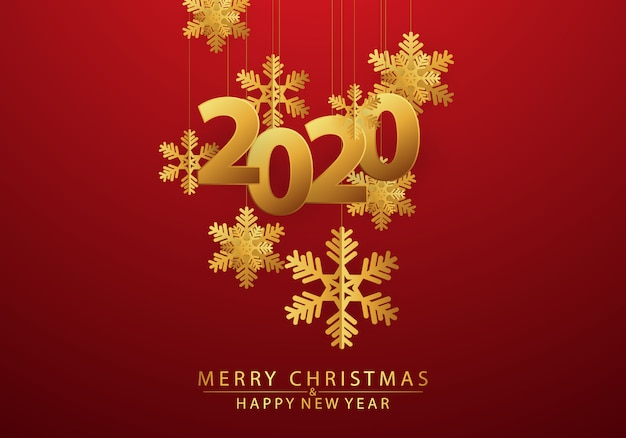 Happy new year 2020 background decorated with snowflakes and golden