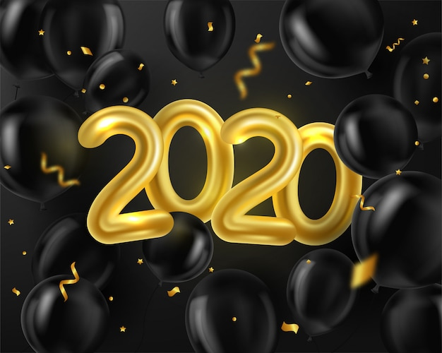 Happy new year 2020. background realistic golden and black balloons and serpentine