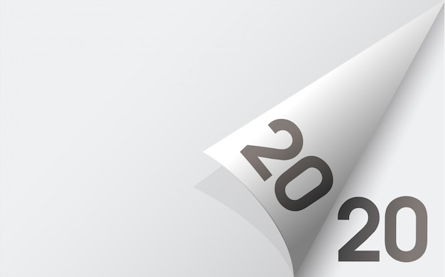 Happy new year 2020 background with background of soft white paper sheets.