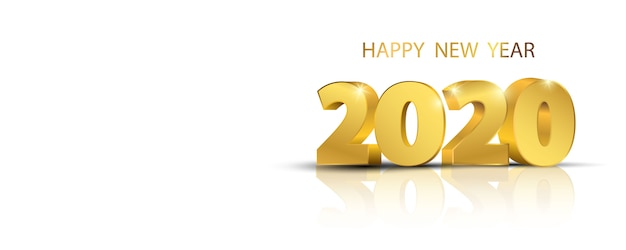 Happy new year 2020 background Premium Vector