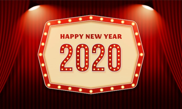 Happy new year 2020 billboard typography text celebration poster