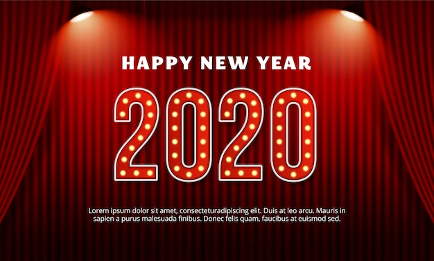 Happy new year 2020 billboard typography text with red curtain in theater stage