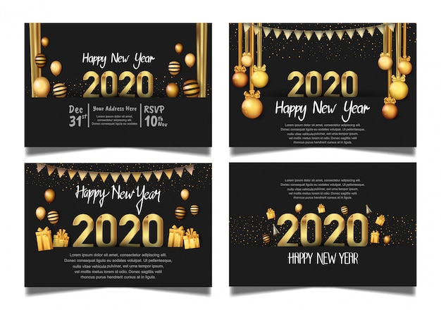 Happy new year 2020 black background set with hanging ball, gift box, balloon, and glitter