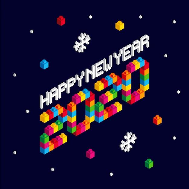Happy new year 2020 block