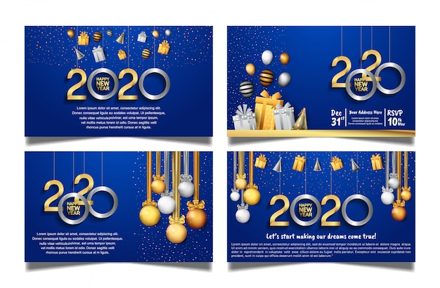Happy new year 2020 blue background set