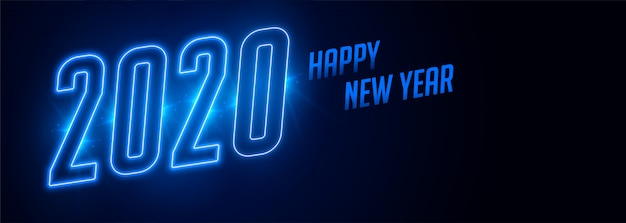 Happy new year 2020 blue neon style banner