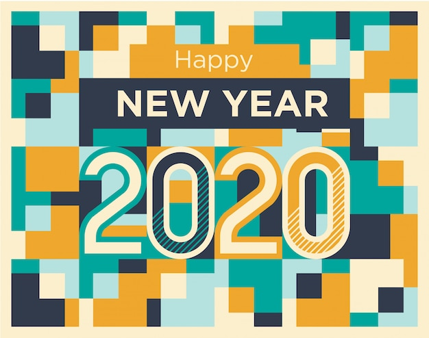 Happy new year 2020 in blue & yellow abstract geometric shapes style