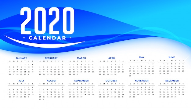 Happy new year 2020 calendar template with abstract blue wave