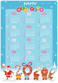 Happy new year 2020 calendar with santa claus take a handcart