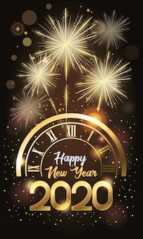 Happy new year 2020 card with number and watch