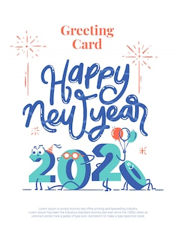 Happy new year 2020 cartoon lettering greeting card postcard