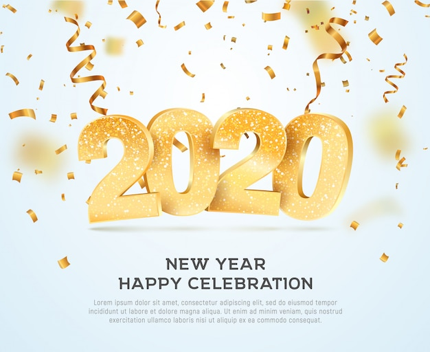 Happy new year 2020 celebrating vector illustration