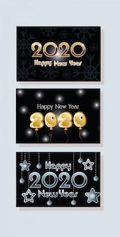 Happy new year 2020 celebration set cards