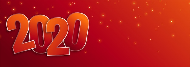 Happy new year 2020 celebration wide banner