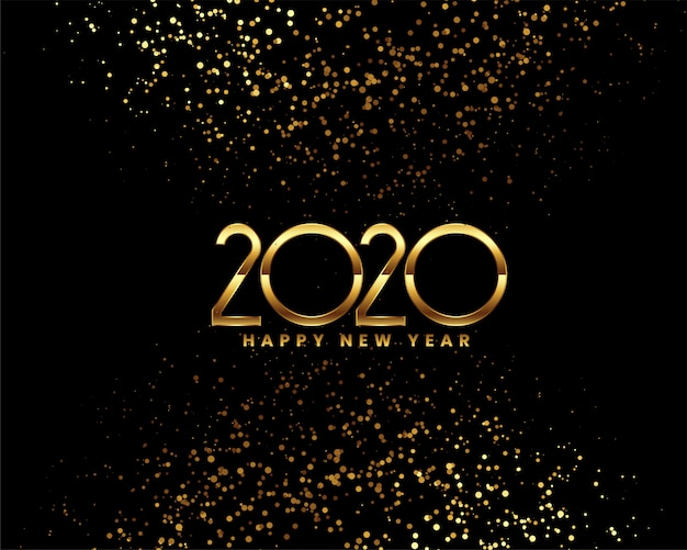 Happy new year 2020 celebration  with golden confetti