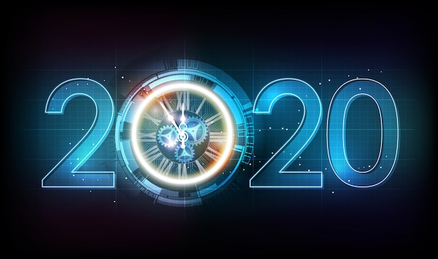 Happy new year 2020 celebration with white light abstract clock on futuristic technology background, countdown concept, illustration