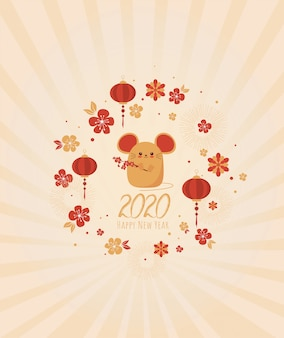 Happy new year 2020. chinese new year. the year of the rat