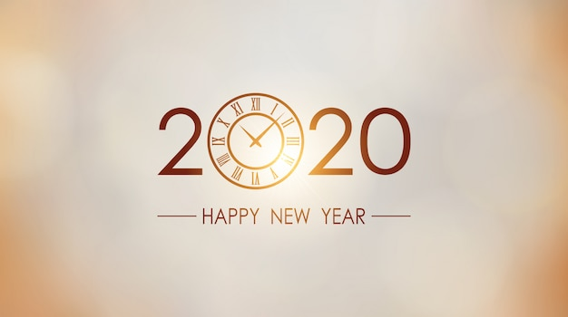 Happy new year 2020 and clock with sun light flare gold background
