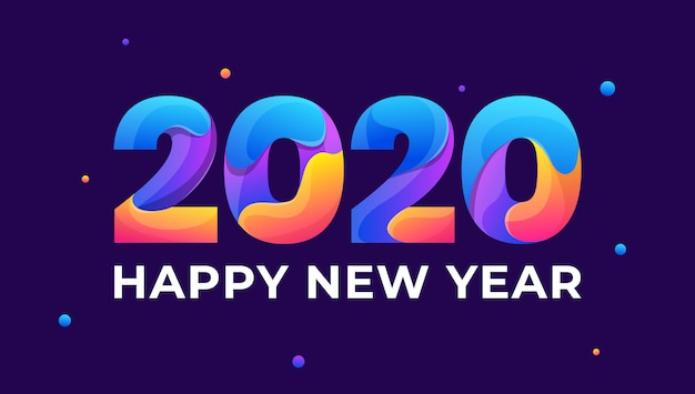 Happy new year 2020 colorful greeting card