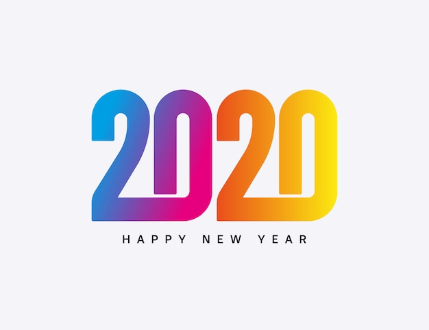 Happy new year 2020 colorful typography isolated on white