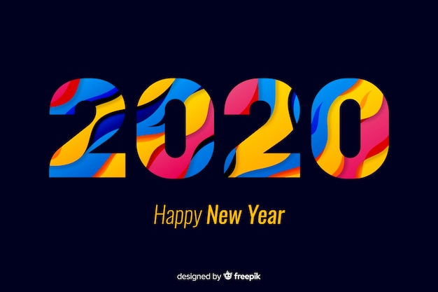 Happy new year 2020 in colourful shades