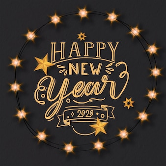 Happy new year 2020 concept with lettering
