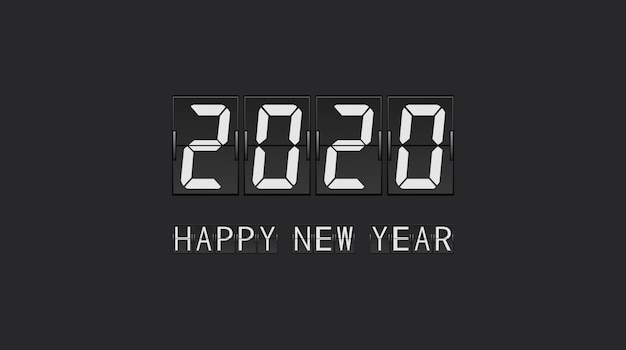 Happy new year 2020 in countdown flip board panel letter design