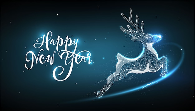 Happy new year 2020. deer in style low poly wireframe