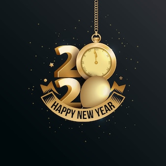 Happy new year 2020 elegant greeting card with gold watch