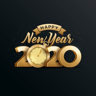 Happy new year 2020 elegant greeting card