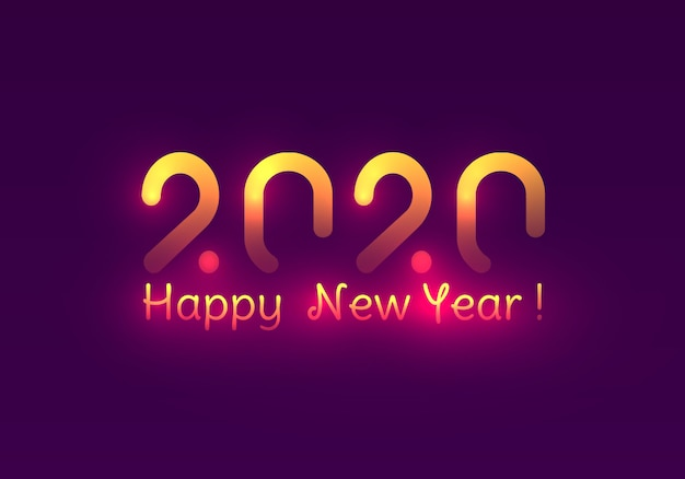 Happy new year 2020. festive purple and golden lights.