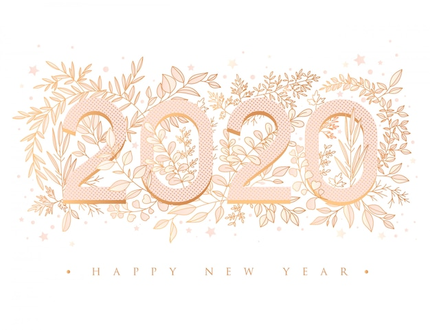 Happy new year 2020 floral greeting card